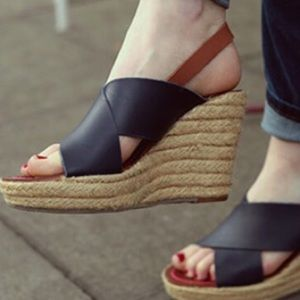 Boden Sienna navy espadrille wedge sandals